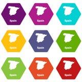 Os ícones do mapa da Espanha ajustaram o vetor 9 ilustração stock