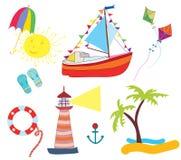 Os ícones do mar ajustaram o projeto engraçado Imagem de Stock Royalty Free