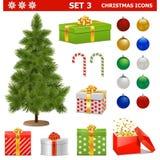 Os ícones do Natal do vetor ajustaram 3 Fotografia de Stock
