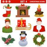 Os ícones do Natal do vetor ajustaram 4 ilustração do vetor