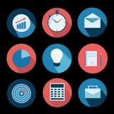 Os ícones do negócio ajustam e projetam elementos Vetor ilustração do vetor