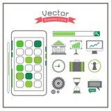 Os ícones do negócio ajustaram a roda denteada do telefone do discurso do dobrador do gráfico Fotos de Stock Royalty Free
