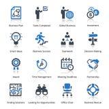 Os ícones do negócio ajustaram 3 - série azul Foto de Stock