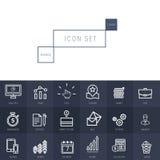 Os ícones do negócio ajustaram-se no estilo linear fino realístico Fotografia de Stock Royalty Free