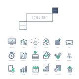 Os ícones do negócio ajustaram-se no estilo linear fino realístico Fotografia de Stock