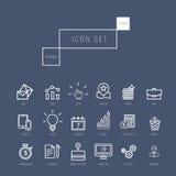 Os ícones do negócio ajustaram-se no estilo linear fino realístico Foto de Stock Royalty Free