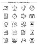 Os ícones do negócio & do escritório ajustaram 2, linha ícones da espessura Fotos de Stock Royalty Free
