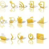 Os ícones do ouro do Web dobraram no branco ajustaram 2 ilustração stock