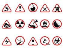 Os ícones do perigo sinais de advertência ajustam-se, triangulares e dos círculos de perigo Foto de Stock Royalty Free