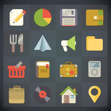 Os ícones do plano universal para a Web e o móbil ajustaram 4 Fotos de Stock