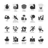 Os ícones do preto do símbolo da silhueta ajustaram o desenvolvimento econômico do negócio, crescimento financeiro ilustração stock