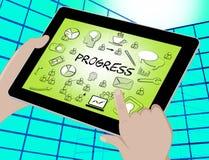 Os ícones do progresso mostram a ilustração do progresso 3d do aperfeiçoamento ilustração stock