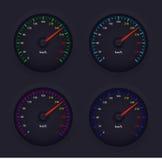 Os ícones do projeto do medidor de velocidade vector a ilustração em 4 cores Imagens de Stock Royalty Free