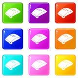 Os ícones do saco da areia ajustaram a coleção de 9 cores ilustração royalty free