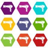 Os ícones do secador de cabelo ajustaram 9 ilustração do vetor