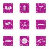 Os ícones do serviço de entrega dos negócios ajustaram-se, estilo do grunge ilustração royalty free