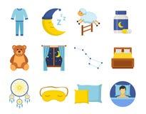 Os ícones do tempo de sono ajustaram-se em um estilo liso Horas de dormir da noite da sesta da coleção isoladas no fundo branco Fotografia de Stock