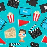 Os ícones do teste padrão ajustaram o cinema Imagem de Stock