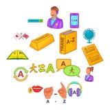 Os ícones do tradutor ajustaram o estilo dos desenhos animados Fotos de Stock Royalty Free