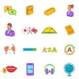 Os ícones do tradutor ajustaram o estilo dos desenhos animados Fotografia de Stock Royalty Free