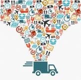 Os ícones do transporte ajustaram o conceito rápido do caminhão de entrega doente Imagem de Stock