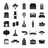 Os ícones do turismo do curso de Vietname ajustaram o estilo simples ilustração stock