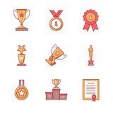Os ícones do vencedor da concessão diluem a linha grupo Imagem de Stock Royalty Free