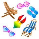 Os ícones do verão ajustaram-se. Vetor Imagens de Stock