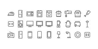 Os ícones do vetor ajustaram aparelhos eletrodomésticos para a casa e o escritório para o uso cada dia Foto de Stock Royalty Free