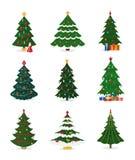 Os ícones do vetor da árvore do ano novo do Natal com o presente do xmas da estrela do ornamento projetam a planta do partido da  Fotografia de Stock Royalty Free