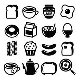 Os ícones do vetor do alimento de café da manhã ajustaram - o brinde, ovos, bacon, café Imagens de Stock Royalty Free