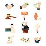 Os ícones do vetor do leilão ajustaram-se com as mãos e o dinheiro do martelo isolados Imagens de Stock Royalty Free