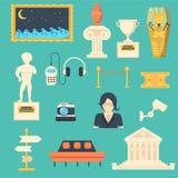 Os ícones do vetor do museu ajustaram-se com símbolos da escultura, da antiguidade e da cultura Imagens de Stock
