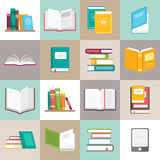 Os ícones do vetor dos livros ajustaram-se em um estilo liso ilustração stock