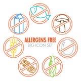 Os ícones do vetor para alérgenos livram produtos Fotos de Stock