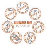 Os ícones do vetor para alérgenos livram produtos Imagem de Stock