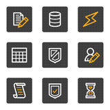 Os ícones do Web da base de dados, cinza abotoam a série Fotografia de Stock