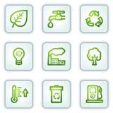 Os ícones do Web da ecologia, o quadrado branco abotoam a série ilustração stock