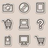 Os ícones do Web da eletrônica ajustaram 1, etiqueta marrom do contorno ilustração royalty free