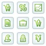 Os ícones do Web do comércio electrónico, o quadrado branco abotoam a série ilustração stock