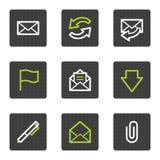 Os ícones do Web do email, quadrado cinzento abotoam a série Foto de Stock Royalty Free
