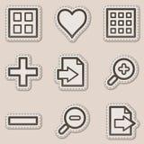Os ícones do Web do visor da imagem ajustaram 1, etiqueta marrom ilustração do vetor