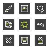Os ícones do Web do visor da imagem ajustaram 1, teclas quadradas cinzentas Imagens de Stock Royalty Free