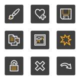 Os ícones do Web do visor da imagem ajustaram 2, série das teclas do cinza Imagens de Stock