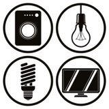 Os ícones dos aparelhos eletrodomésticos ajustaram-se, máquina de lavar, ampola, ene Foto de Stock