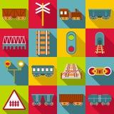 Os ícones dos artigos da estação de estrada de ferro ajustaram-se, estilo liso ilustração stock