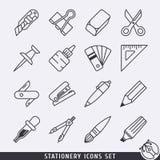 Os ícones dos artigos de papelaria ajustaram o lineart preto e branco Fotos de Stock
