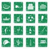 Os ícones dos artigos do curso de Argentina ajustaram o grunge Imagens de Stock Royalty Free
