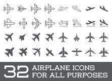 Os ícones dos aviões ou do avião ajustaram a silhueta do vetor da coleção Foto de Stock Royalty Free