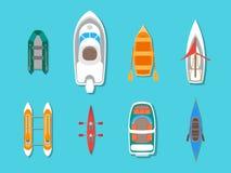 Os ícones dos barcos da cor dos desenhos animados ajustaram a vista superior Vetor Fotos de Stock